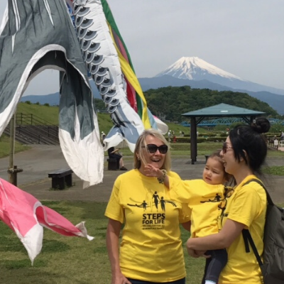 Family in yellow T-shirts in front of Mt Fuji